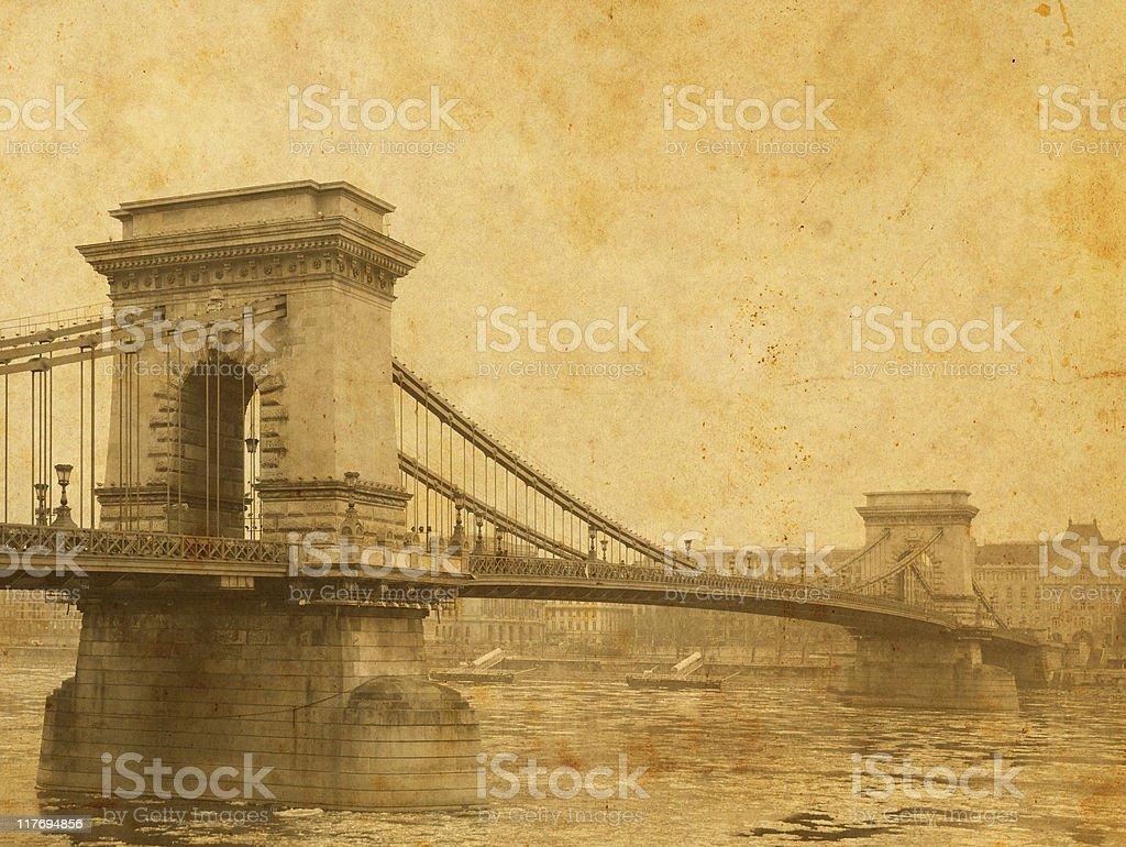 vintage chain-bridge royalty-free stock photo