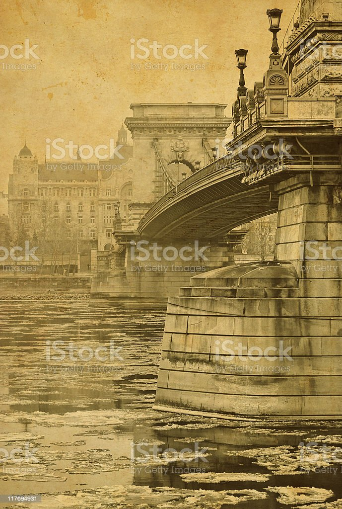 vintage chain-bridge royalty-free stock photo