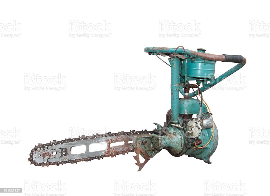 vintage chainsaw isolated on white background stock photo