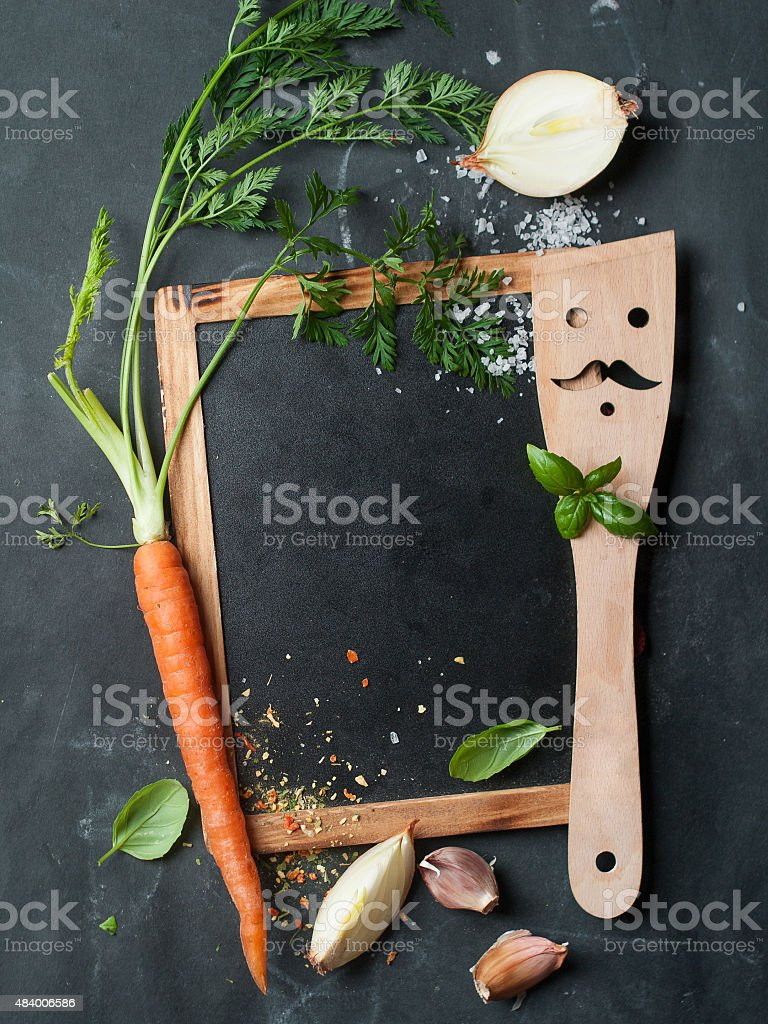 Vintage chalk board with spatula stock photo