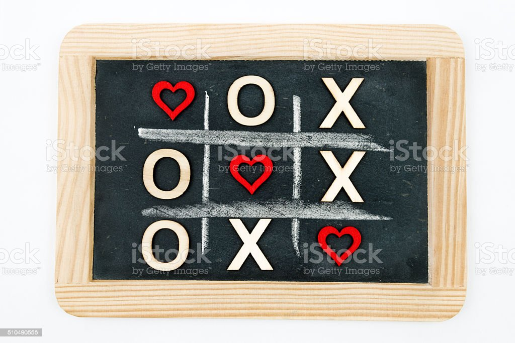 Vintage chalkboard with Tic Tac Toe Game stock photo