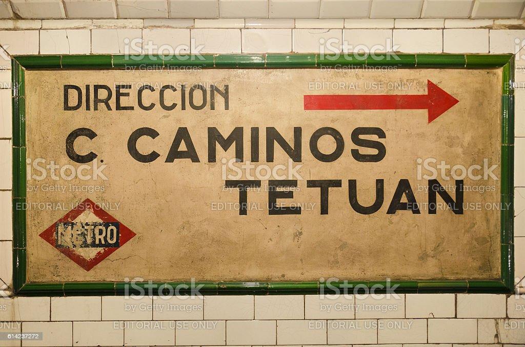 Vintage Chamberi underground station in Madrid, Spain. stock photo