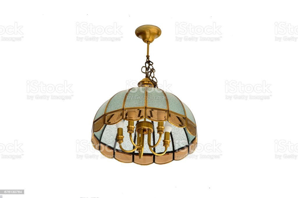 Vintage chandelier lamp isolate on white background for decoration. stock photo