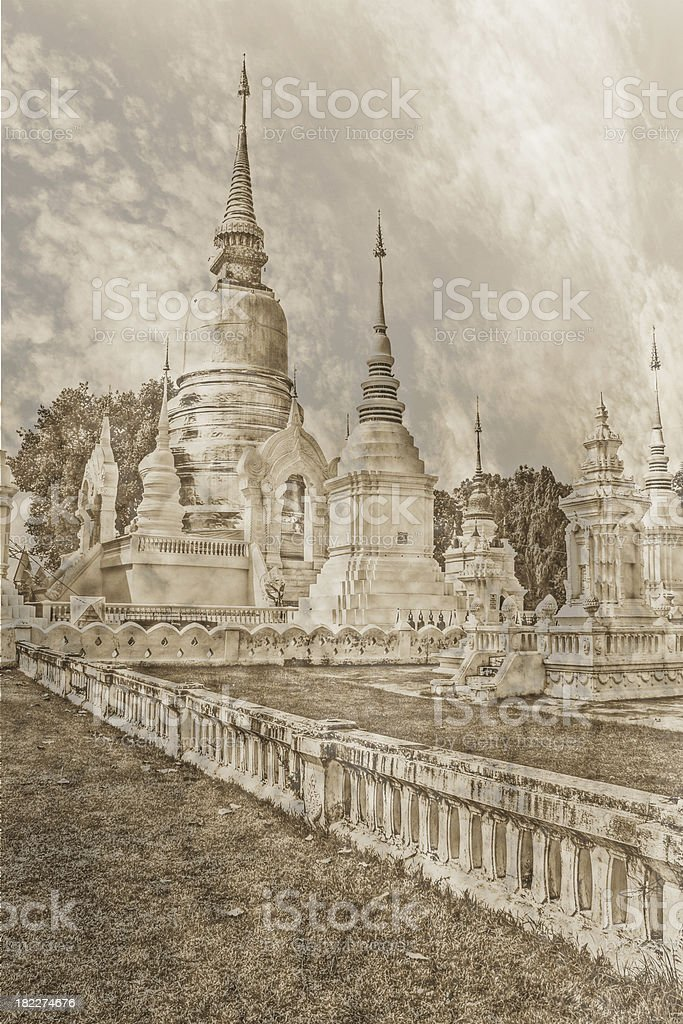 vintage - Chedi in Wat Suandok , Chiangmai Thailand royalty-free stock photo