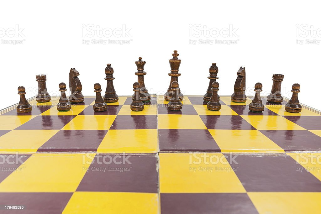 Vintage Chess Board with Black Pieces royalty-free stock photo
