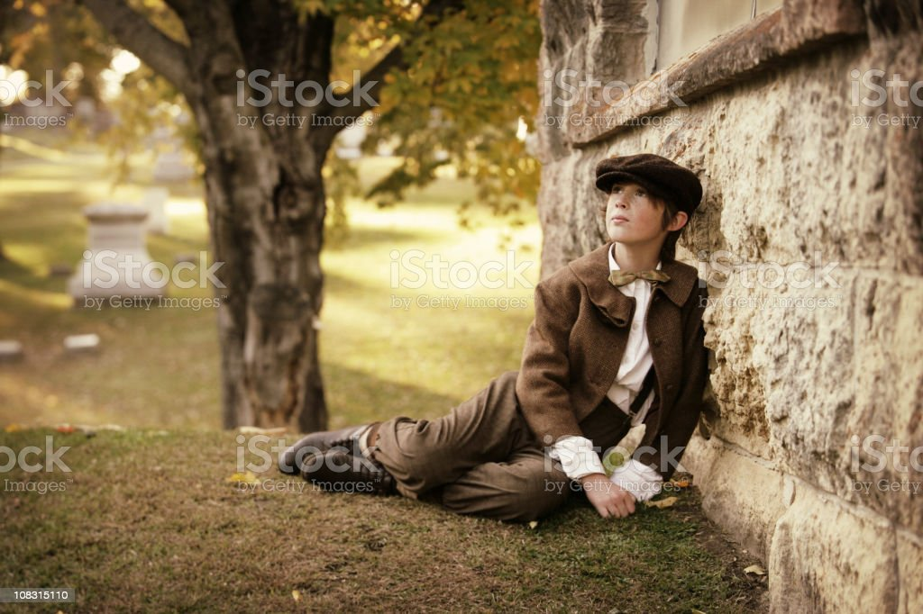 Vintage Child in Cemetery royalty-free stock photo