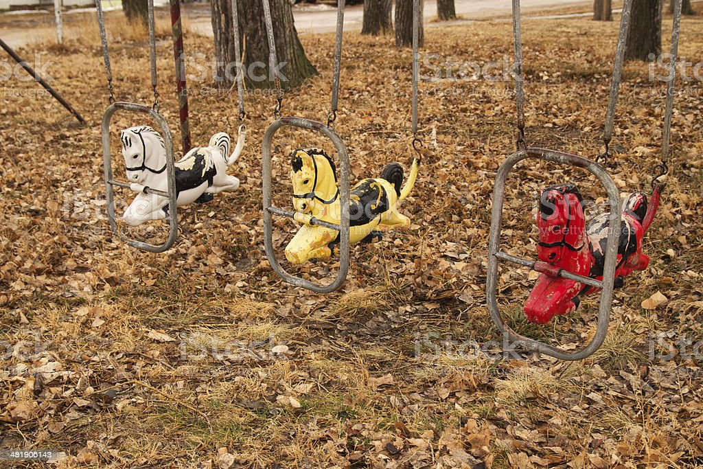Vintage childrens swing set stock photo