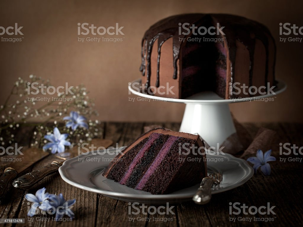 vintage chocolate cake with blueberry cream stock photo
