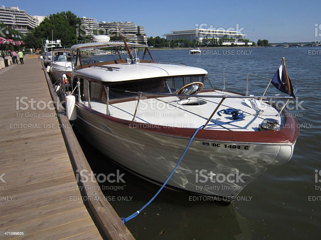 Vintage Chris Craft Boat stock photo
