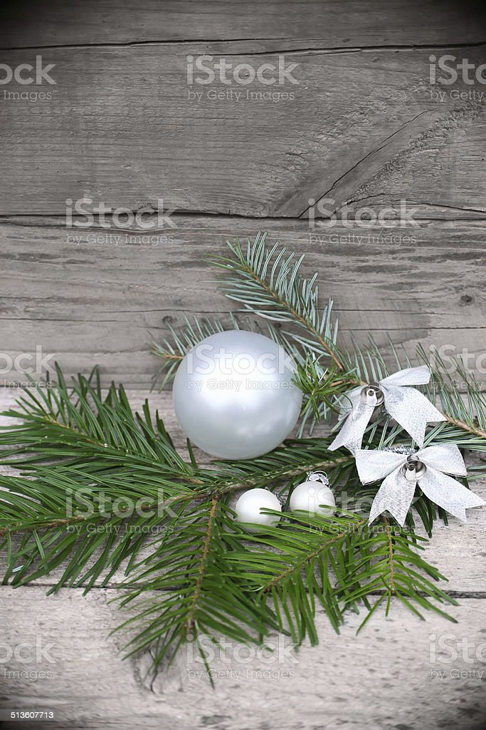 Vintage Christmas background  Fir-Tree  on old wood stock photo