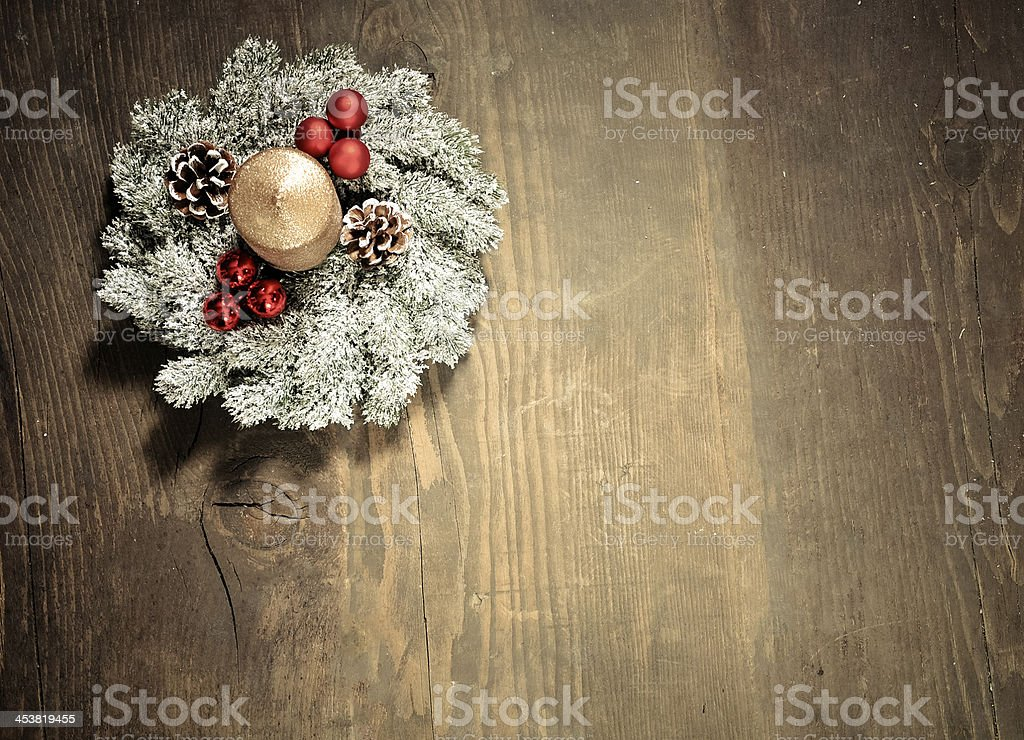 Vintage Christmas background with baubles, pine and Christmas decoration royalty-free stock photo