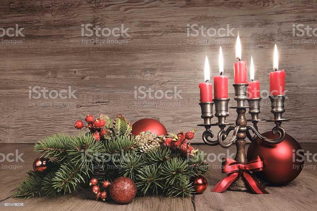 Vintage Christmas background with candles and decorations, text stock photo