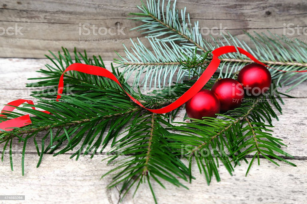Vintage Christmas background with Fir-Tree  on old wood stock photo