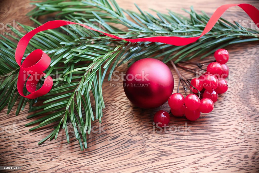 Vintage Christmas background with Fir-Tree  on red old wood stock photo