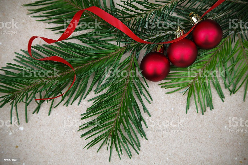 Vintage Christmas background with Fir-Tree stock photo