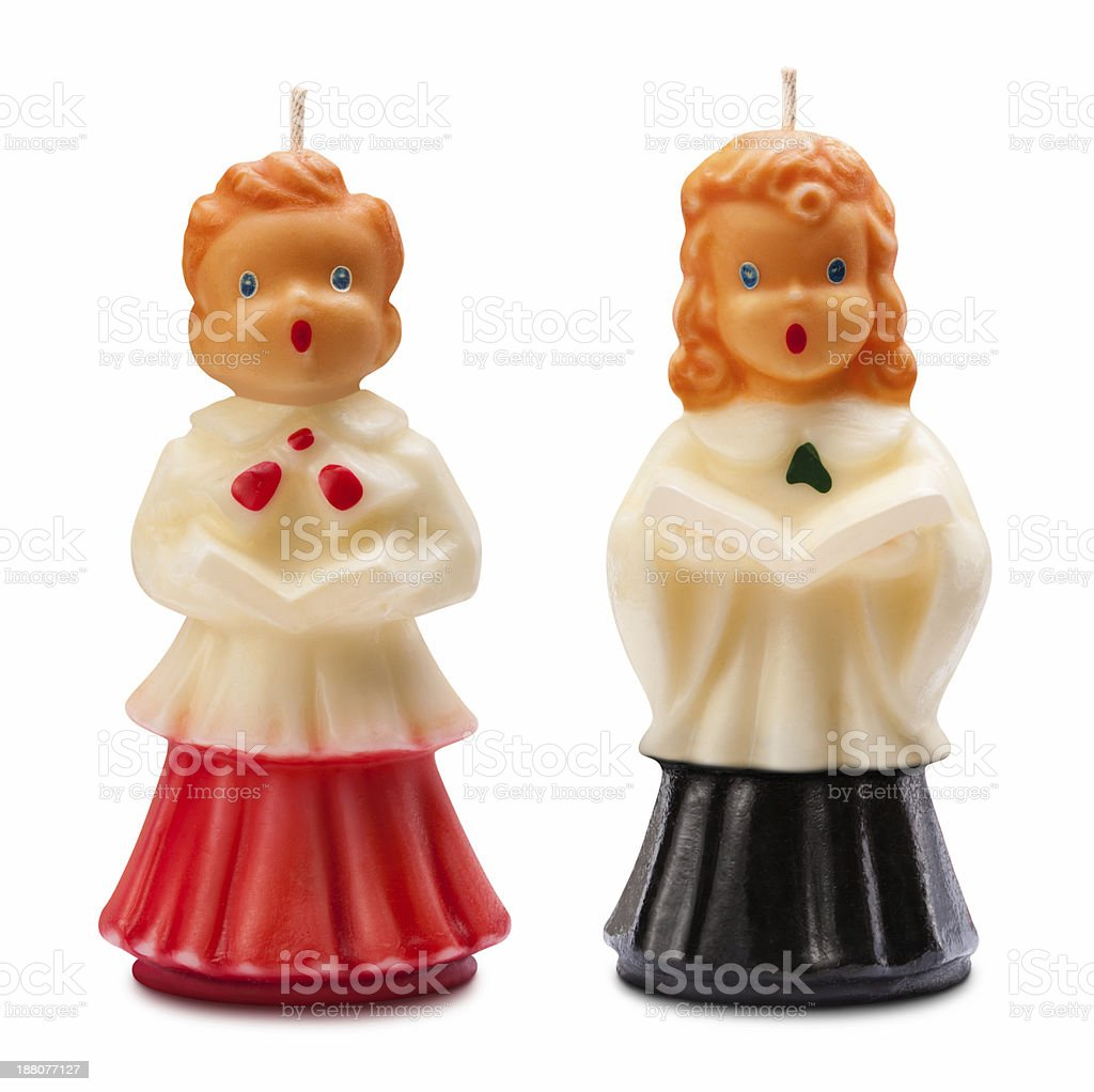Vintage Christmas Choir Candles Isolated stock photo
