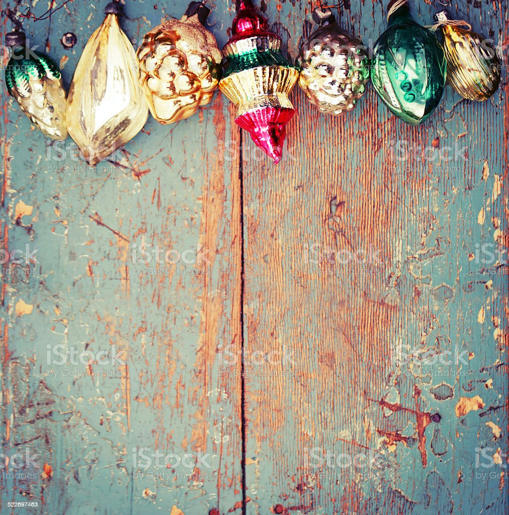 vintage Christmas decoration on old wooden background stock photo