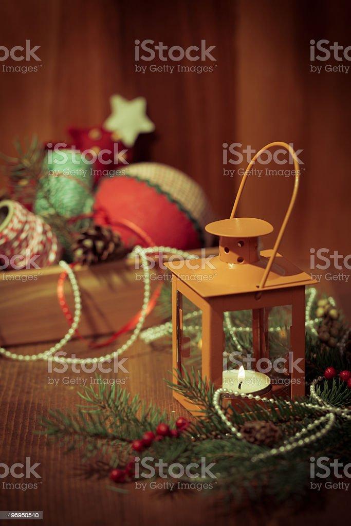 Vintage Christmas Decoration. Selective focus. stock photo