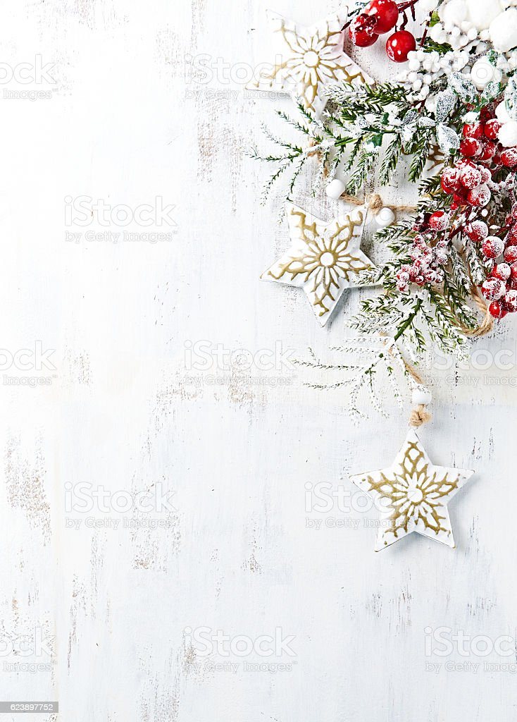 Vintage Christmas decorations on a wooden background stock photo