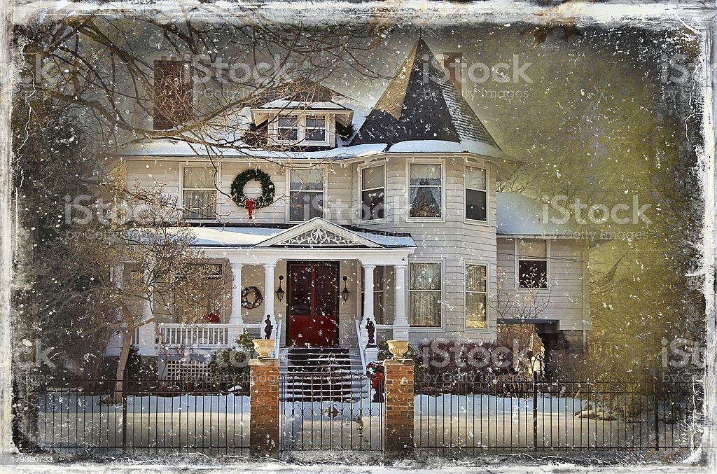 vintage Christmas house royalty-free stock photo