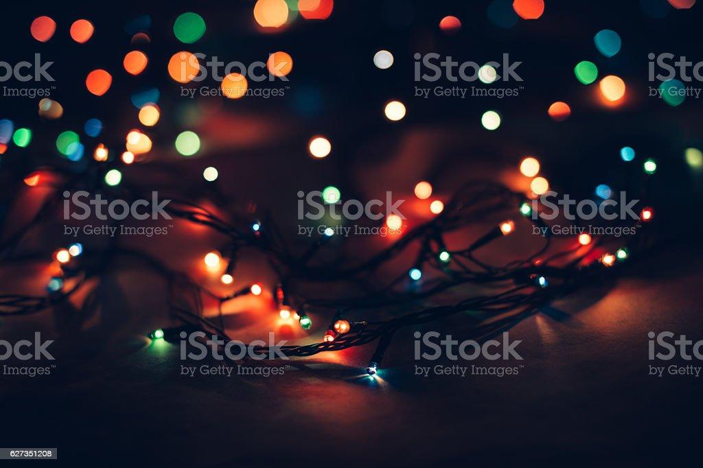 Vintage Christmas lanterns on a black background stock photo