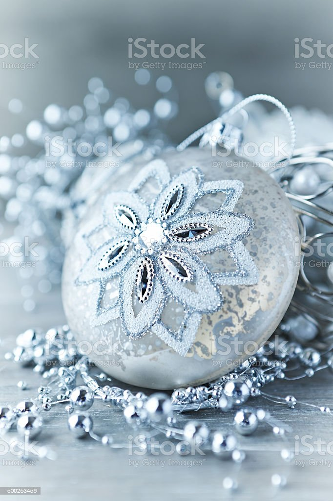 Vintage Christmas ornaments stock photo
