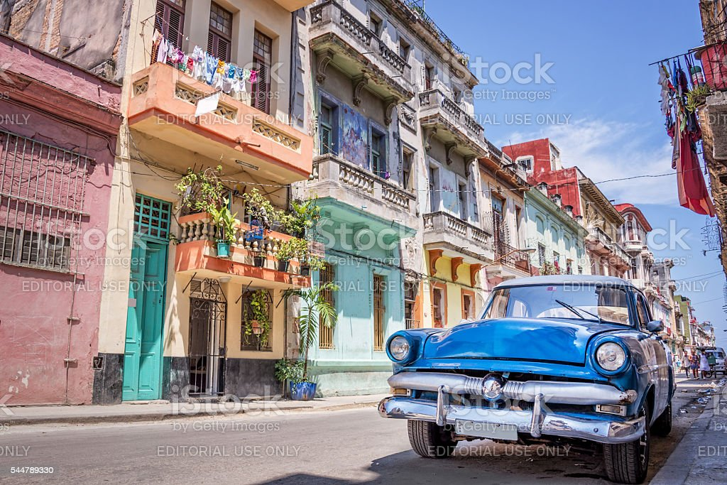 Vintage classic american car in Havana, Cuba stock photo
