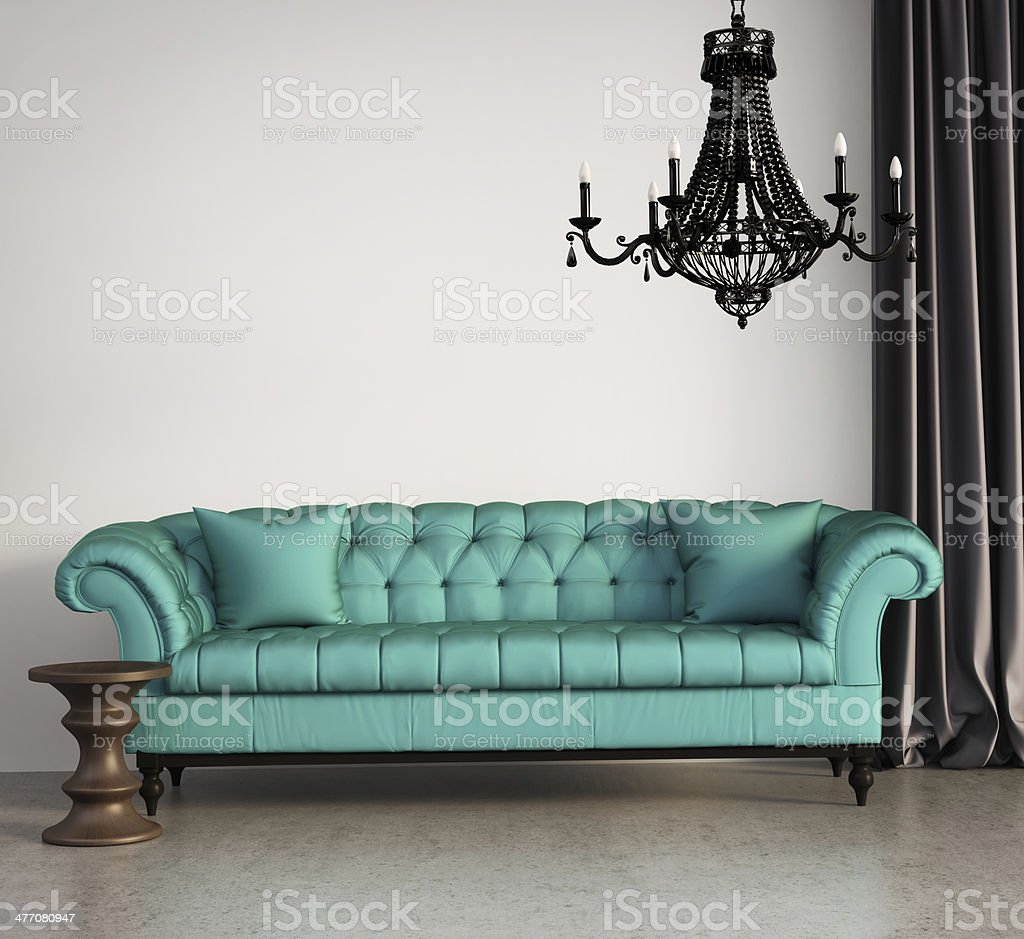 Vintage classic elegant living room stock photo