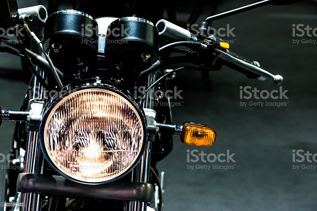 vintage classic Motorcycle head light stock photo