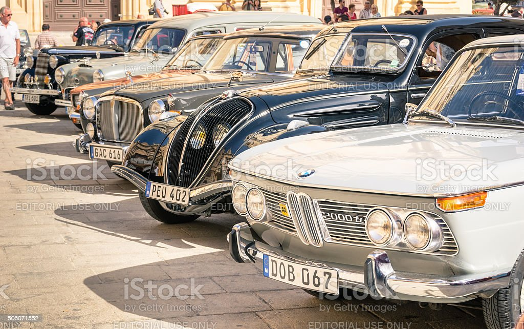 Vintage classic retro cars parked in Mdina Malta stock photo