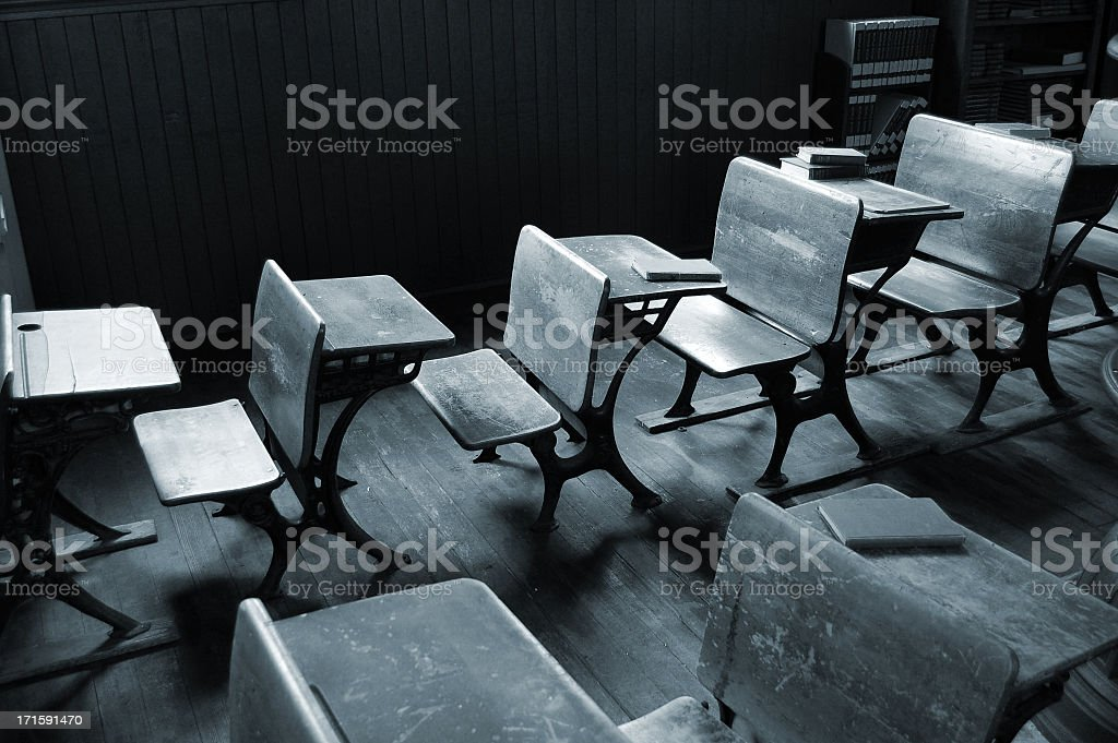 Vintage Classroom in Black and White royalty-free stock photo