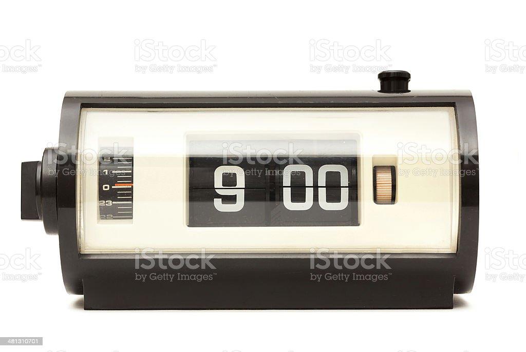 Vintage Clock - 9 o'clock, isolated on White stock photo