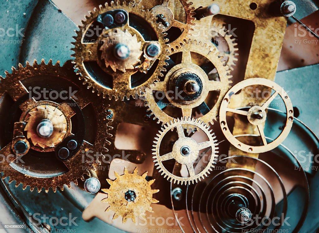 Vintage clock mechanism stock photo