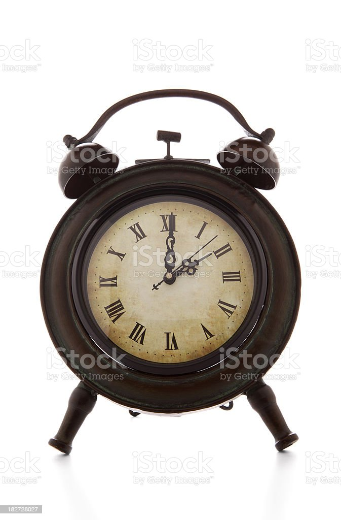 Vintage clock two oclock stock photo