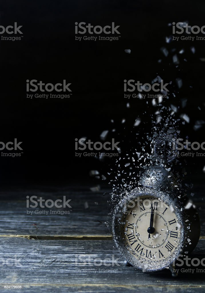 Vintage Clock with Explosion Effect stock photo