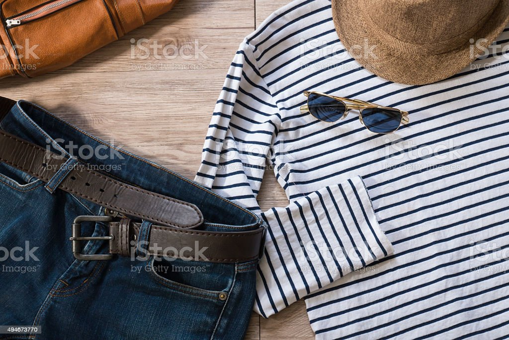 Vintage clothing and accessories stock photo