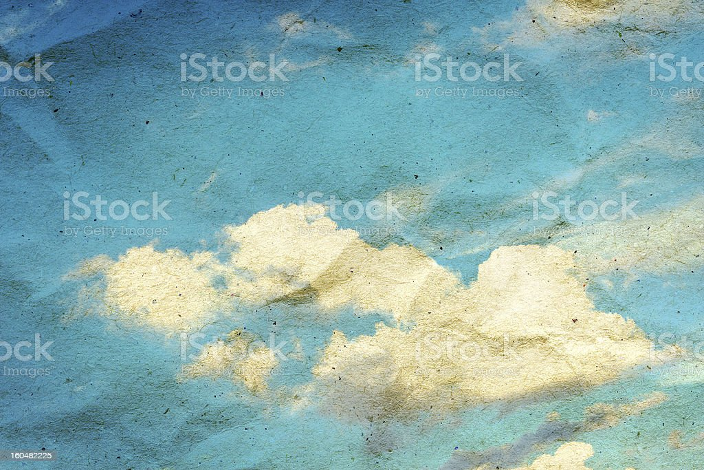Vintage cloud and blue sky on crumpled paper texture vector art illustration