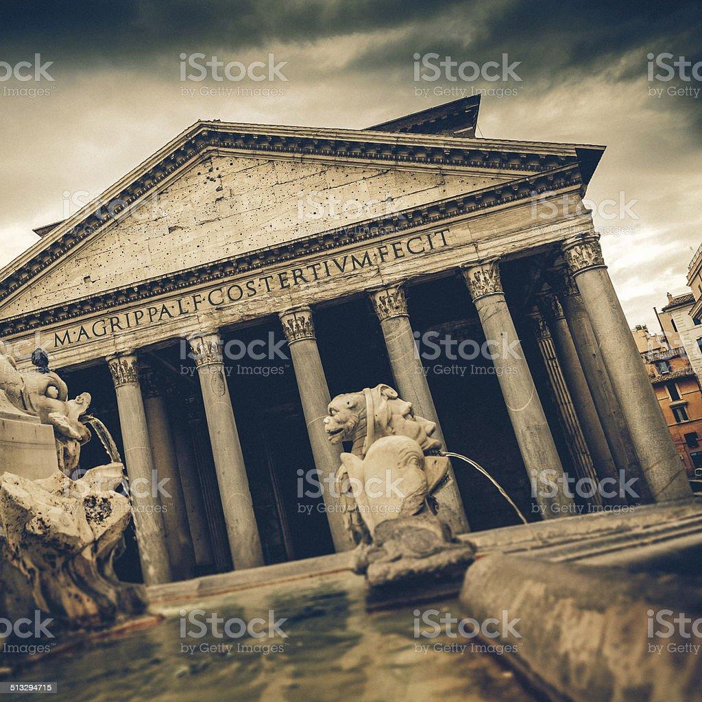 Vintage coaster - Pantheon, Rome, Italy stock photo