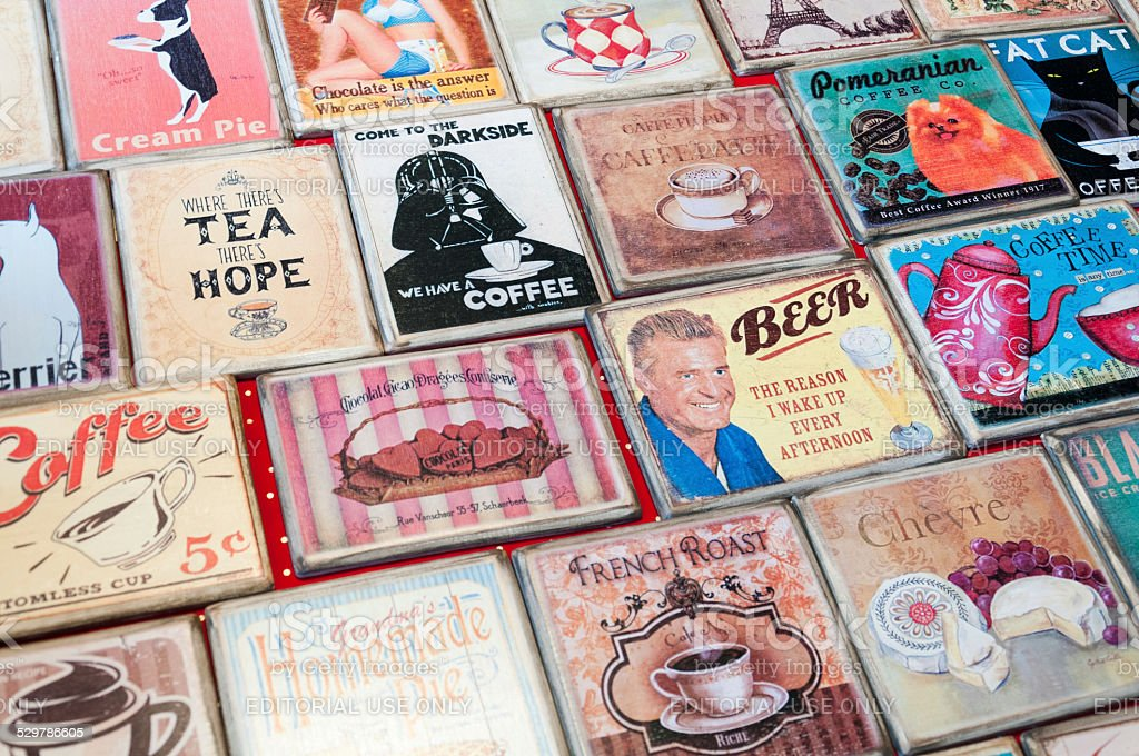 Vintage coasters - Different replicas of vintage coasters stock photo