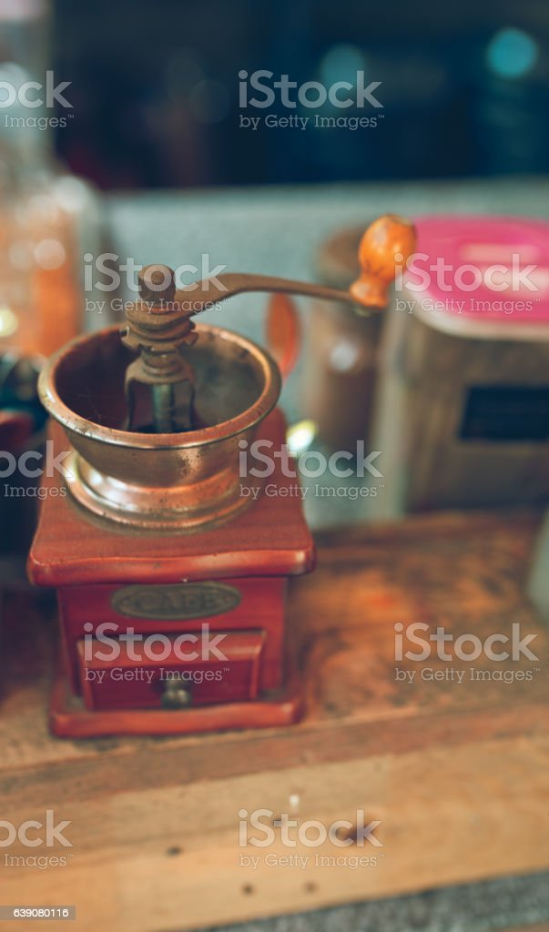 Vintage coffee grinder photo stock photo