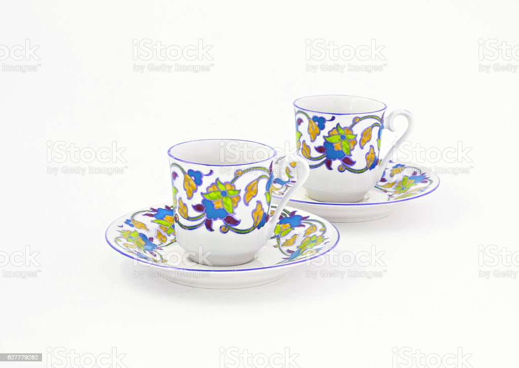 vintage coffee set with colorful decoration isolated stock photo