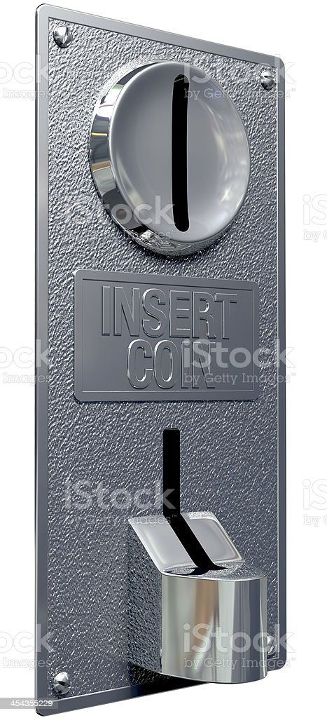 Vintage Coin Slot Machine Panel Perspective royalty-free stock photo