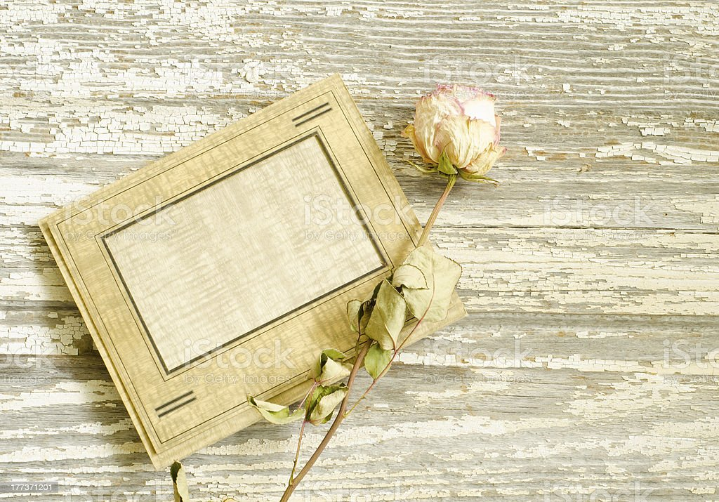 Vintage collage of dried rose and photo frame royalty-free stock photo