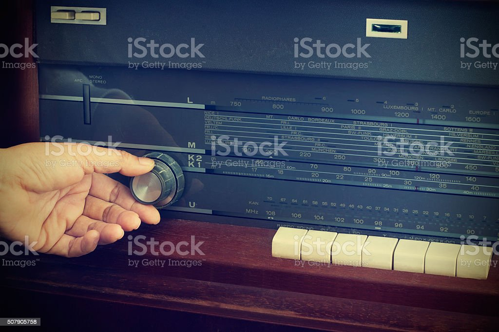 Vintage color style, Hand tuning retro radio button stock photo