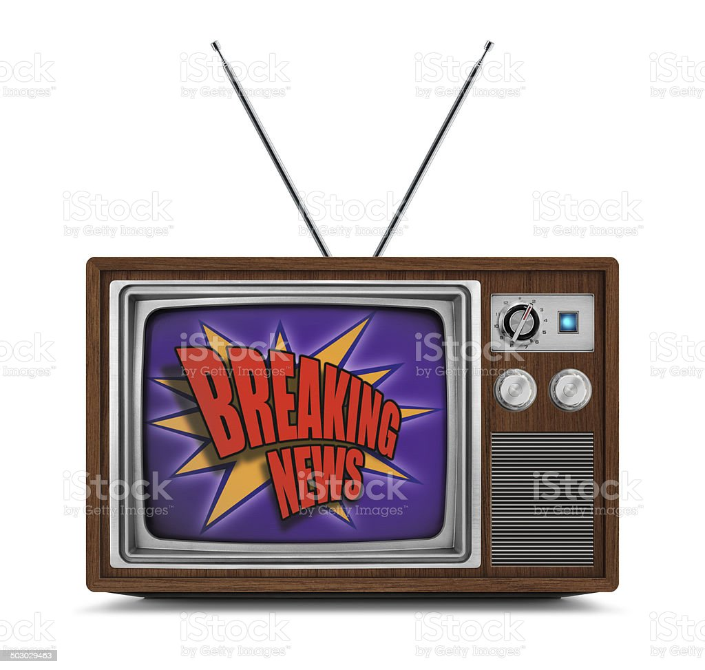 Vintage Color Television - Breaking News Logo stock photo