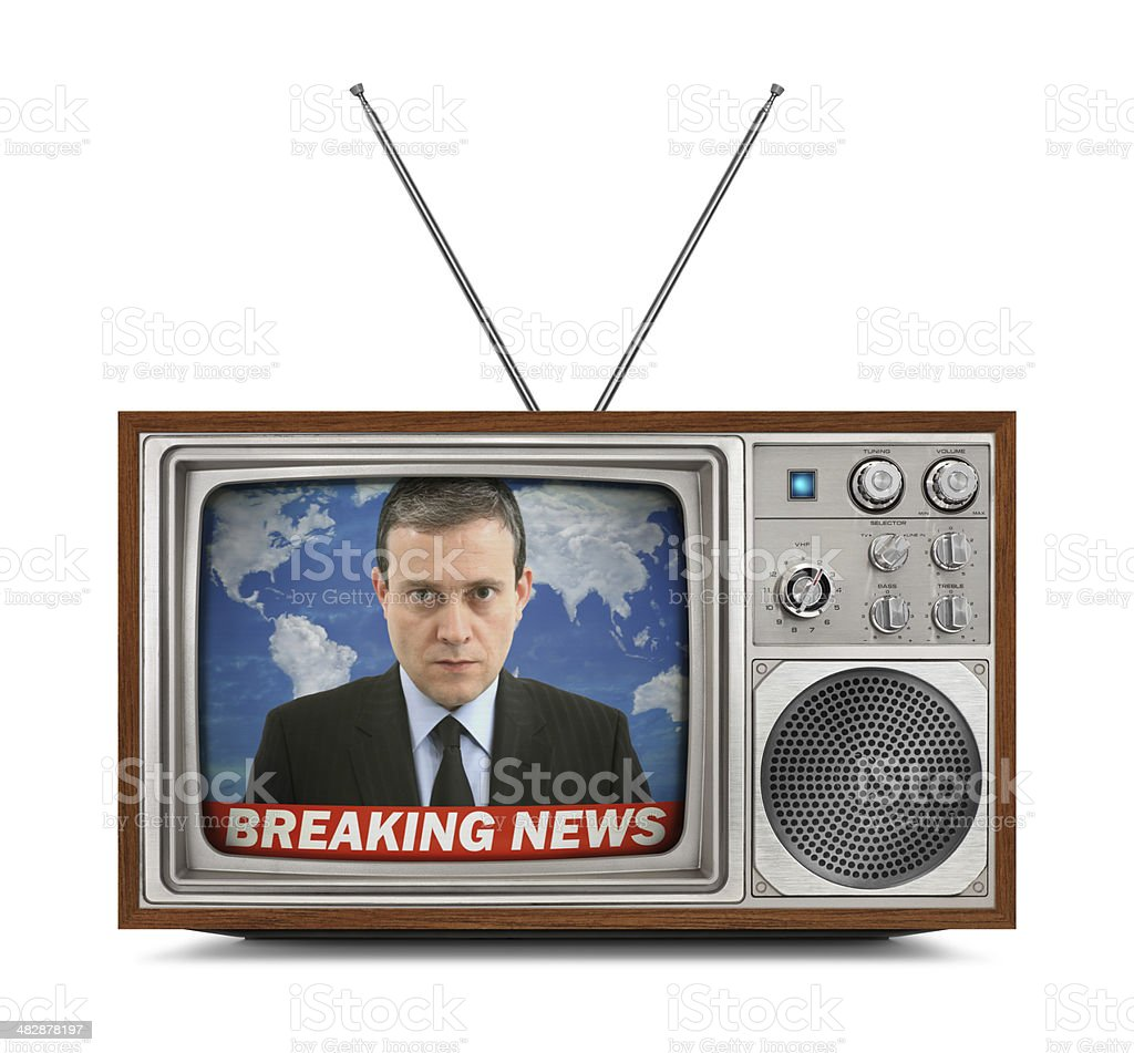Vintage Color Television - Breaking News stock photo