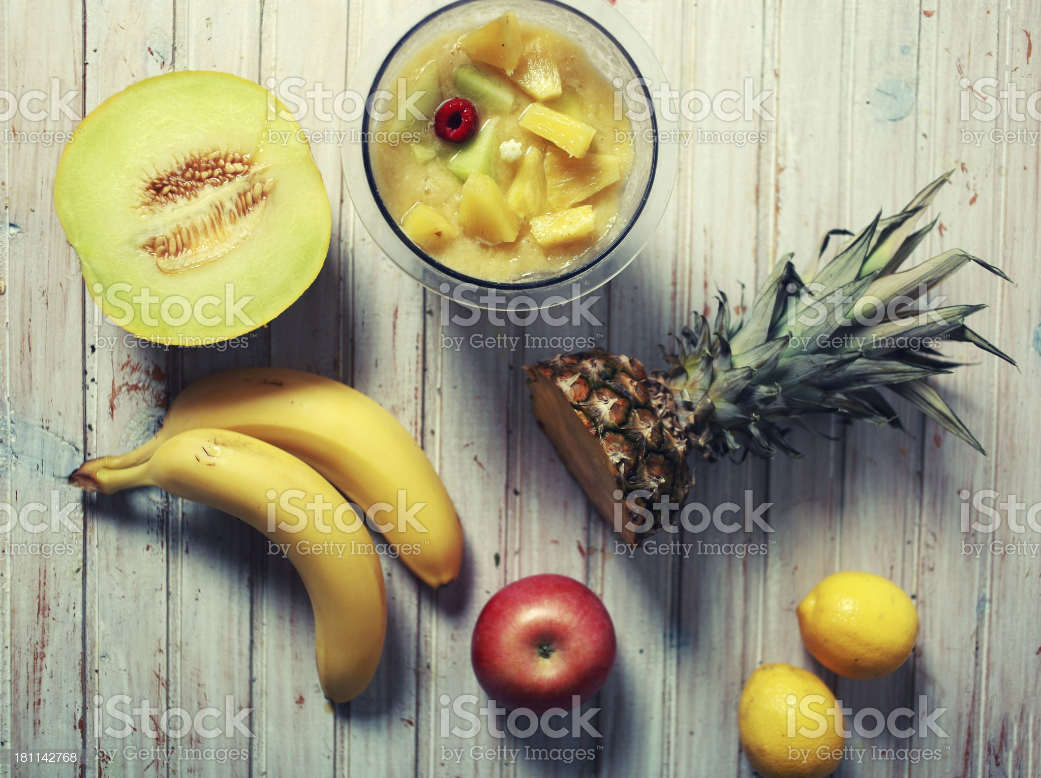 vintage colored fruits for a smoothie royalty-free stock photo