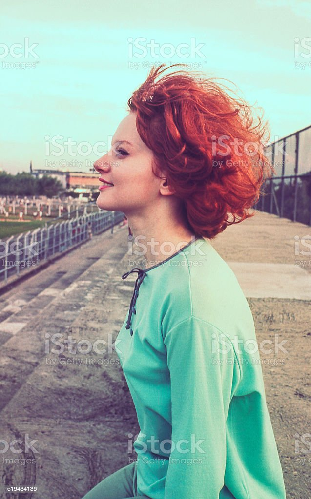 Vintage Colorful Profile stock photo