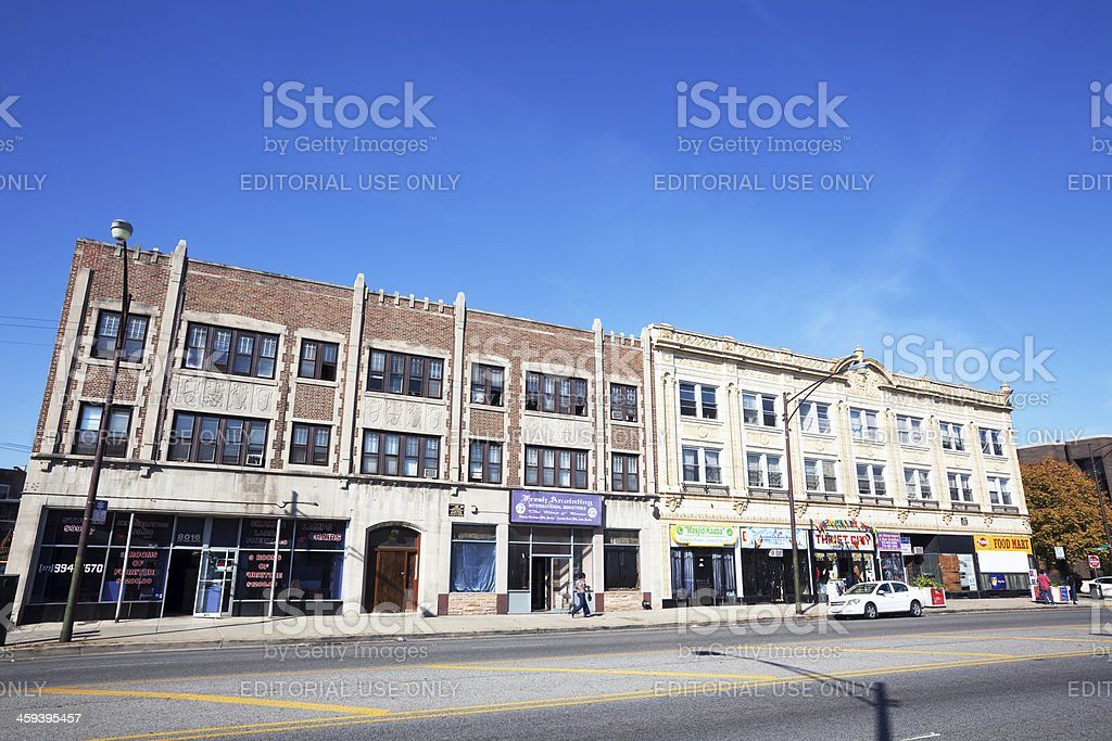 Vintage Commercial Buildings on South Cottage Grove Avenue in Ch stock photo