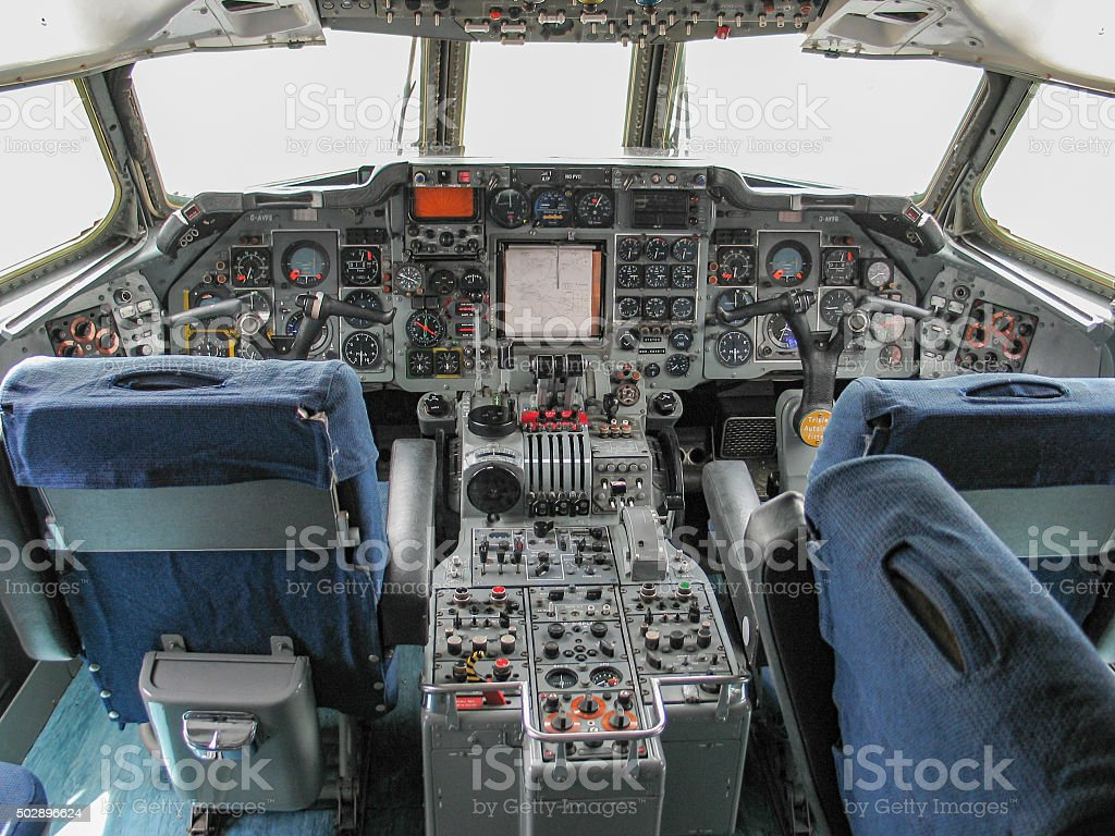 Vintage Commercial Jet Liner Cockpit stock photo
